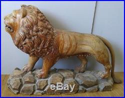 Antique VNTG HUGE Rare Gothic Wood Carved Lion Figure Statue Sculpture