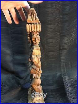 Antique Vintage 15 Hand Carved Wood Sculpture Aztec Inca Mayan Priest Indian