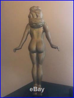 Antique Vintage Art Deco Pair Nude Female Sculptures Figurines Statues 1930-40s
