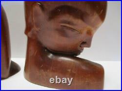 Antique Vintage Art Deco Wood Carving Large Heads Head Sculpture Man Woman Model