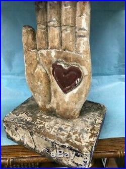 Antique/Vintage Carved, Wood Folk Art Heart-in-Hand