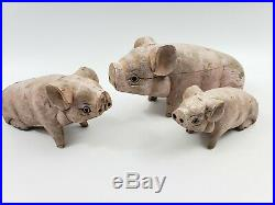 Antique Vintage Carved Wood Folk Art Three Little Pigs 1930s Solid Wood Painted
