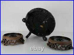 Antique Vintage Chinese Carved Wood Display Stand Stands. Collection of 5