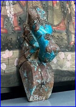 Antique Vintage Indian Wooden Horse Head Sculpture. Turquoise