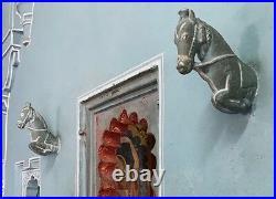 Antique Vintage Indian Wooden Horse Head Sculptures. Turquoise. Large Pair