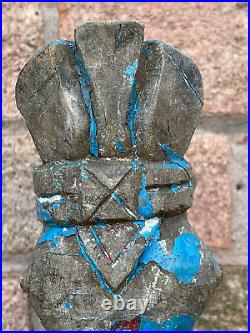 Antique Vintage Large Indian Wooden Teak Horse Head Sculpture c1850 India Blue