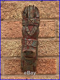 Antique Vintage Large Indian Wooden Teak Horse Head Sculpture c1850 India Red a