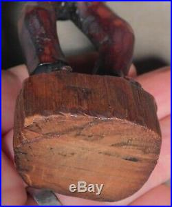 Antique Vintage Outsider Folk Art Black Americana Wood Carving Man OLD PAINT 30s