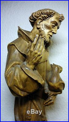 Antique Vintage Rare ANRI Bacher wood carving Patron Saint St Francis statue