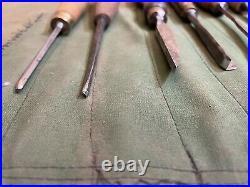 Antique Vintage Set Wood Carving Tools Chisels Gouges in Tool Roll
