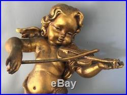 Antique Vtg Italian Gold Gilt Tole Faux Wood Cherub Wall Figurine Sculpture Pair