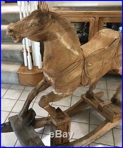 Antique Vtg Large Carousel Carved Wood Sculpture Horse Decor Display Statement