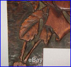 Antique Vtg Late 19th C 1890s Folk Art Carved Wood Arts and Crafts Picture Frame