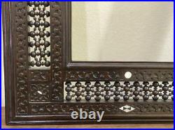 Antique Wall Mounted, Mirror, Carving Wood Frame Inlaid Mother of Pearl