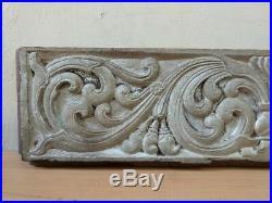Antique Wall Wooden Panel Hand Floral Carved Home Vintage Door Beam Estate Decor