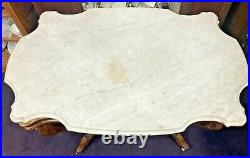 Antique Walnut Marble Top Parlor/lamp Table With Dog Carving
