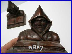 Antique Wood Carving Pair Men W Hoods Signed P. Russ Vintage Statue Bookends Old