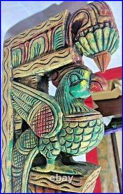 Antique Wooden Peacock Pair Wall Corbel Vintage Sculpture Shelf Decor Rare Art