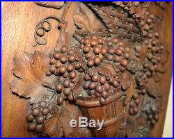 Antique hand carved black forrest wood relief sculpture wall panel art carving