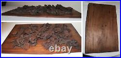 Antique hand carved black forrest wood relief sculpture wall panel art carving 2
