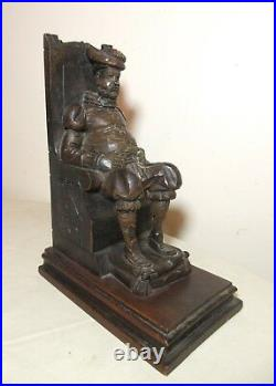Antique hand carved seated figural Sancho Panza Spanish wood sculpture statue