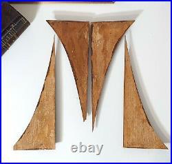 Antique wood carving Set of 4 Carved flowers Salvaged mounts for frame door