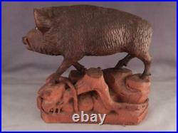 AntiqueVintage Wild Boar HogPigBlack Forest Wood Carving SculptureGlass Eye