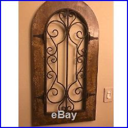 Arched Wood Metal Wall Decor Scroll Iron Rustic Sculpture ... on Wood And Metal Wall Sconces id=82445