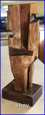 Artist Sculpture In Wood. Vintage WoodenCarved 16Tall Mid Century Wood Abstract