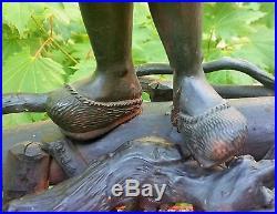 BIG! 1800s antique japanese gnarled wood buddha sculpture statue vtg art carving
