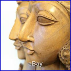 Bali Statue Carved Wood Vintage Sculpture Balinese Carving Indonesia Figure Wall