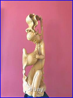 Balinese Hand Carved Wood Sculptured Statue LARGE Vintage one of a kind