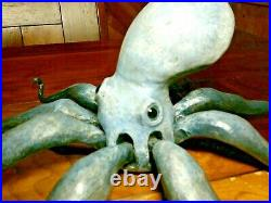 Beautiful Sea Blue OCTOPUS Art Wood Carving Sculpture Decoy signed Casey Edwards