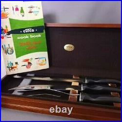 Beautiful Vintage Cutco Meat Carving 3 Piece Knife Set with Wood Case and Book