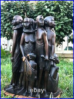 Beautiful Vintage Ebony Wood Carving Of African Women Tribes 16 Wooden figures
