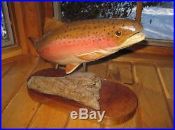 Beautiful Vintage Wooden Hand Carved Crafted RAINBOW TROUT Sculpture HAROLD R