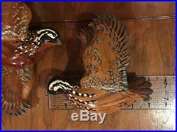 Bobwhite Quail Wood Carving Game Birds Pair Wall Folk Art duck decoy Signed OOAK