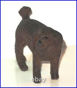 C. 19th C Antique Swiss German Bavarian Black Forest Wood Carving RARE Poodle Dog
