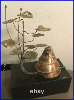 CURTIS JERE BRUTALIST Snail SCULPTURE Vintage 1966 Copper & Brass On Wood Signed