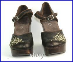 Calleen Cordero Antiqued Bronze Leather Handmade Studded Platform Clogs $505 9 M