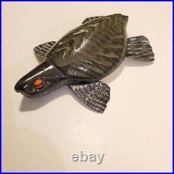 Carl Christiansen 01 Turtle Vintage Fish Decoy Lure Folk Art Wood Carving Nice