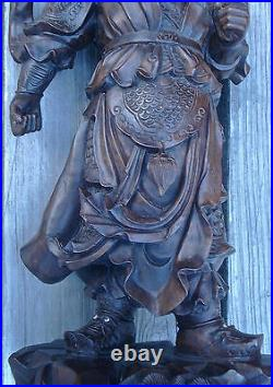 Chinese Guan Gong Yu Warrior God Officer Statue Hand Carved Wood Asian Vintage