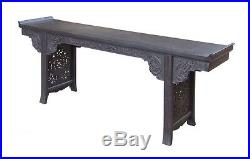 Chinese Vintage Long Tan Rosewood Dragon Carving Altar Console Table cs1495