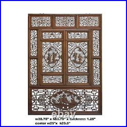 Chinese Vintage Wood Oriental Carving Wall Panel Window Screen ws828