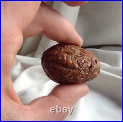 Chinese antique Walnut carving miniature monks Tiger Boat Hediao Heidao netsuke