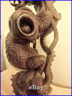 Chinese wood hand carved dragon vintage 16 tall collectable sculpture home deco