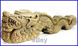 Cosmic Dragon Naga Vintage Teak wood temple Carving architectural Fragment