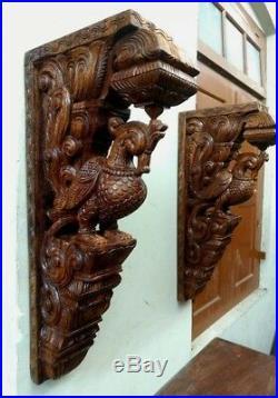 Cute Wall Corbel Pair Peacock Vintage Wooden Bracket Sculpture Statue Art Decor
