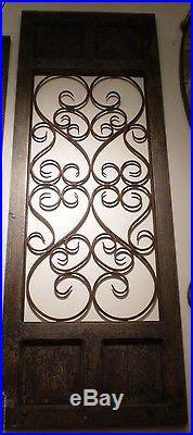 Dark Brown Rustic Vintage Scrolling Wood Metal Garden Gate Door Wall Art Panel