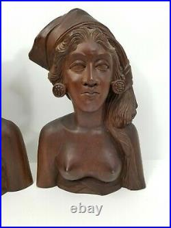 Detailed Bali Wood Carved Sculpture Bust Woman Figure Tribal Nude Lot of Two